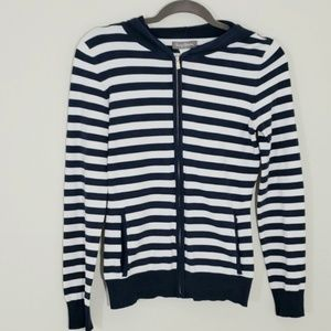 Tommy Bahama striped navy and cream hooded sweater